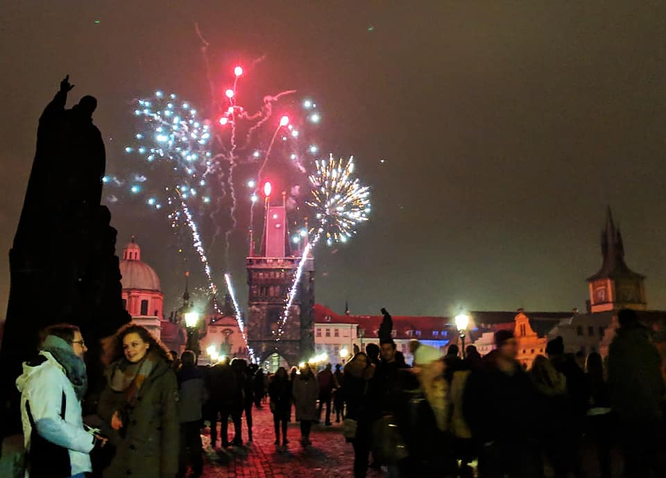 New Year's Fireworks on Charles Bridge, Prague – 2019